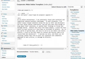 Editing the Main Index Template